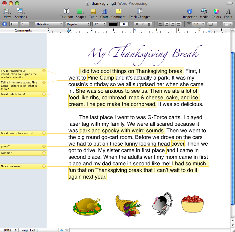 descriptive writing on thanksgiving dinner