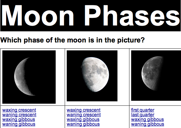 elementary science phases of the moon