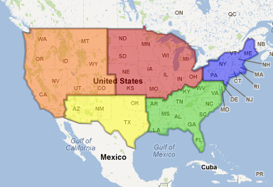Regions Of The US Jeopardy Review Game Answer Key - Map of the 5 regions of the us